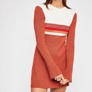 NWT Free People Colorblock Swit Mini Dress in Rust